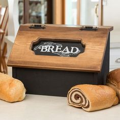 Pine Hinged Bread Box - Delightful pine box helps keep bread fresh and ready for enjoying. Plus, it looks absolutely charming on any counter!
