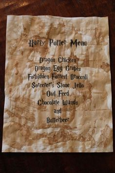 For Sarah's birthday party. Harry Potter Food: Menu