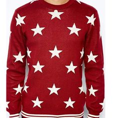 River Island Star Sweater - Red Made from a cotton mix fabric Star pattern Contrast hem and cuffs Regular fit Size Small P11 River Island Sweaters