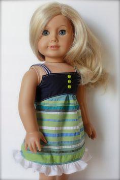 Navy Green White SUMMER DRESS for American Girl by closet4chloe, $15.00