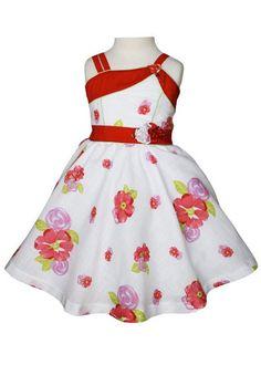 Vestido de verano Sandra niñas Blanco Twirly con Rosas Rojas - Carrusel desgaste - 1