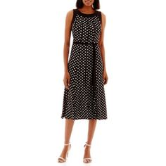 Perceptions Sleeveless Ity Dress With Tie Belt - JCPenney
