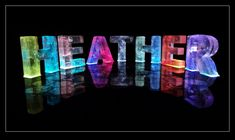 The Name Heather in 3D coloured lights  Christian name Heather; first name Heather; personalised with Heather; Heather sculpture; Heather name sculpture; Heather in 3D; Heather pop art; Baby name Heather;