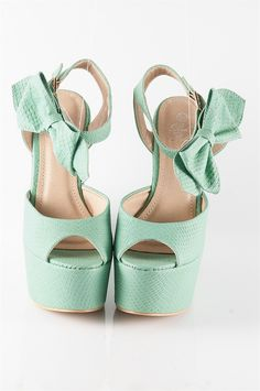 High Platform Wedge Sandals - Teal from Casual & Day at Lucky 21 Lucky 21