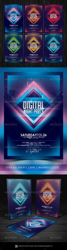 Digital Night Party Flyer Template. Download here: http://graphicriver.net/item/digital-night-party-flyer-template/7070963 #digital #electro #techno #flyerdesign