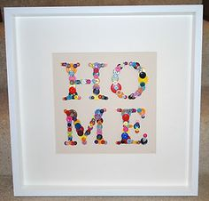 Bespoke 'HOME' Button Art in White Picture Frame (Great Gift)