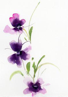 Simple Watercolor Flowers, Easy Watercolor, Watercolor Cards, Abstract Flowers, Abstract Watercolor, Watercolour Painting, Watercolor Paintings For Beginners, Flower Art, Art Drawings