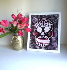 hipster sugar skull art print for office bedroom dorm room decor interior decorating accessories