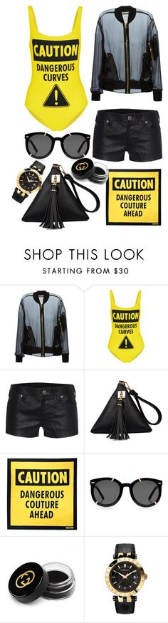 """""""Outfit #400"""" by sofi6277 ❤ liked on Polyvore featuring Moschino, True Religion, Karen Walker, Gucci, Versace, women's clothing, women, female, woman and misses"""