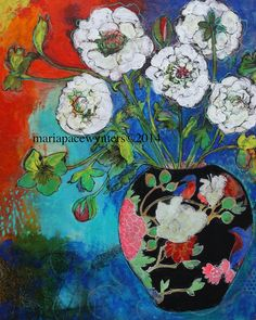Asian Vase With Flowers mixed media painting door MariaPaceWynters