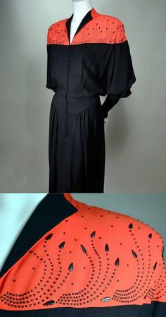 40s Vintage Arthur Weiss 2 Tone Red Blk Studded Rayon Crepe Dress B 40 w 30 H 42 | eBay