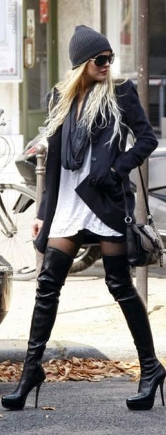 Street style over the knee boots, oversize shirt and beanie