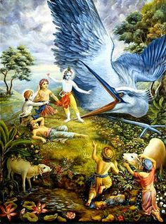"""Ch11 ~ om~ """"The demon quickly threw Krsna up and tried to kill Him by pinching Him in he's beak. Bakasura did not know that although Krsna was playing the part of a child of Nanda Maharaja, He was still the original father of Lord Brahma, the creator of the universe. Mother Yasoda's child, who is the reservoir of pleasure for the demigods and who is the maintainer of saintly persons, caught hold of the great gigantic heron by the two halves of his beard and , before His cowherd boyfriends…"""