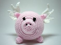 Crocheted Flying Pig Amigurumi, Pig with Wings on Etsy, $12.01