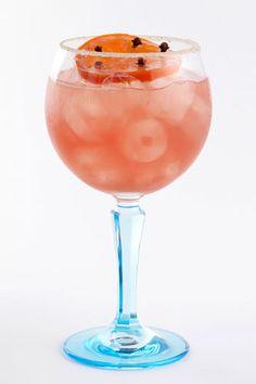 Clove Kiss Gin & Tonic Twist - Blood-Orange-Clove-Infused Gin (Recipe), Tonic Water, Caster Sugar, Cardamom Seed, Blood Wheel, Cloves, Cardamom-Infused Sugar for Rim.
