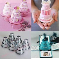 3 Sizes Mini 3-Tier Wedding Cake Tins Pudding Pan Baking Muffin Bakeware Moulds #AAC