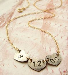 Custom Date Heart Necklace by Sora Designs on Scoutmob Shoppe