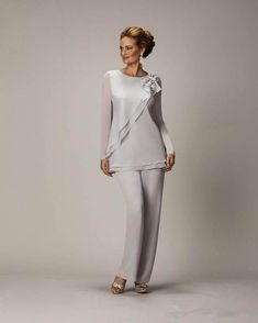 2014 Sliver New Arrival Jewel Vestidos Formales Chiffon Three Pieces Long Mother Of the Bride Suit Pants Evening Dress Mob Dresses, Fashion Dresses, Formal Dresses, Bride Dresses, Halter Dresses, Tunic Dresses, Dress Tops, Prom Dress, Dress Jackets