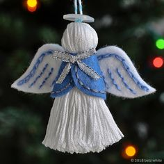 Today is the fourth pattern reveal of the 2018 Holiday Stitch-along Ornament Club! Introducing the Angel Ornament Pattern! Felt Ornaments Patterns, Ornaments Design, Angel Crafts, Xmas Crafts, Christmas Angel Ornaments, Christmas Decorations, Christmas Tree, Holiday Decor, Yarn Dolls