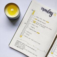 Bullet journal daily layout, vertical timeline, meal tracker, water tracker. @growing.bujo