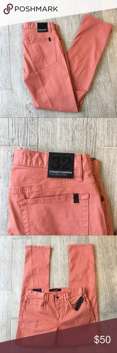 Joe's Straight & Narrow The Brixton Size 32. NWT. 98% Cotton 2% Spandex. Peach color. Joe's Jeans Jeans Straight