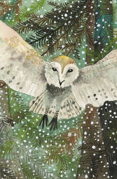 Barn owl in the snow -- Art Print Watercolor Owl's Snowy Flight Art And Illustration, Illustrations, Owl Art, Bird Art, Winter Art, Art For Art Sake, Painting Inspiration, Les Oeuvres, Photo Art