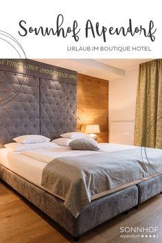 """Alle Hotelzimmer im Sonnhof Alpendorf im Salzburger Land sind so individuell wie die Gäste und Aktivitäten, die man machen kann. Hier wohnt man nach dem Motto """"alles können, nichts müssen"""" - in jeder Hinsicht! #vollsonnhof #salzburgerland #boutiquehotel # Motto, Bed, Places, Furniture, Home Decor, Hotel Bedrooms, Alps, Remodels, Homes"""