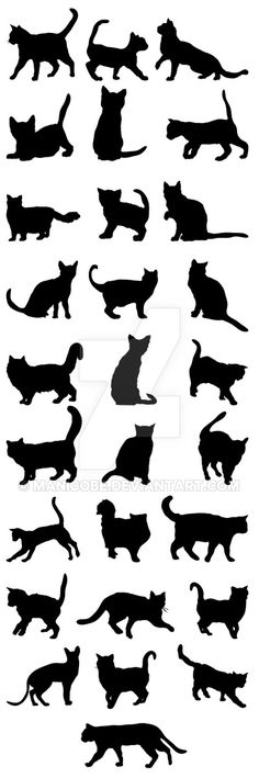Cats Silhouettes Big Pack 2 - Animals Characters and like OMG! get some yourself some pawtastic adorable cat apparel! Black Cat Tattoos, Animal Tattoos, Tattoo Black, Tattoo Minimaliste, Silhouettes, Silhouette Tattoos, Cat Vector, Vector Art, Cat Quilt