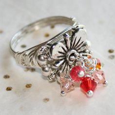 Genuine Swarovski Crystal FIRECRACKER Ring in Silver Sizes 5 - 10