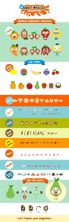 Fruit Mascot & Characters Kit - Characters Vectors