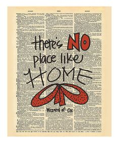 Look at this #zulilyfind! 'No Place Like Home' Wizard of Oz Dictionary Print by Doodli-Do's #zulilyfinds