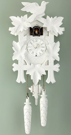 Quartz Cuckoo Clock<br>5-leaves, bird, incl. batteries TU 350/20 Q weiss