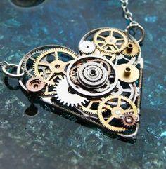 Steampunk Heart Necklace Embrace by amechanicalmind