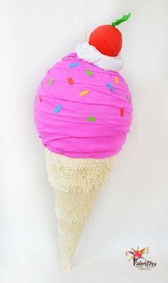 """Lustiges Spiel für den Kindergeburtstag oder die Sommerparty: Piñata """"Pink Erdbeere Eiswaffel"""" / funny game for children's birthday or summer party: pink ice cream cone with strawberry made by Valentina Piñatas via DaWanda.com"""