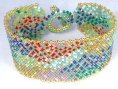 Wildflowers in the Sage Seed Bead Bracelet by SierraBeader on Etsy, $160.00