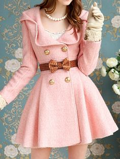 pink pea coat dress vintage blair waldorf feminine soft gentle bow gold buttons flair gloves pearls cute sweet