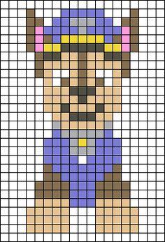 Crochet Square Patterns, Baby Knitting Patterns, Cross Stitch Patterns, Paw Patrol Toys, Paw Patrol Party, Easy Perler Bead Patterns, Perler Bead Art, Pixel Pattern, Dog Pattern