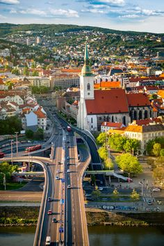 Bratislava, view from the Most SNP bridge, Slovakia European Travel Tips, European Destination, Places To Travel, Places To Visit, Backpack Through Europe, Road Trip Europe, Best Travel Guides, Beautiful Castles, Bratislava