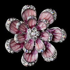 Silver Pink Floral Brooch 162