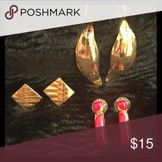 3 pair earrings 1 is clip on Clip on is trifari fashion earring. The red one is a Monet fashion earring. The other gold dangling is unbranded. All are vintage and in very good condition. Trifari Jewelry Earrings