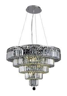 Elegant Lighting - 2036 Maxime Collection Hanging Fixture D26in H20in Lt:14 Chrome Finish (Royal Cut Crystals)