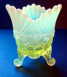 "*MOSSER GLASS CO. ~ in Ohio, USA, produced this spooner in vaseline opalescent glass, the pattern: eyewinker, stands 5.5"" tall + measures 4.5"" diameter at the top + the base is 4"" diameter."
