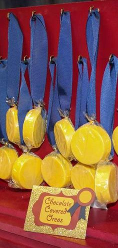 Chocolate covered Oreo medals at a Vintage All-Star Party Birthday Party!  See more party ideas at CatchMyParty.com!