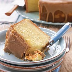 A yummy caramel frosting paired with a moist and delicious pound cake makes for an irresistible dessert.