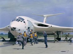 RAF crew running toward their Handley Page Victor bomber × Handley Page Victor, Military Jets, Military Aircraft, Photo Avion, V Force, War Jet, Avro Vulcan, Aircraft Design, Royal Air Force