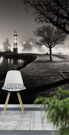 Lighthouse at night Wall Mural - Wallpaper