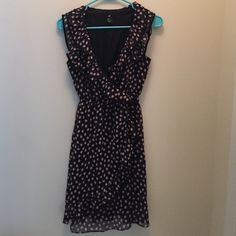 Polka dot dress Dark blue chiffon with peach polka dots. Ruffle going along chest and then at bottom of dress. Worn only a couple of times. Great condition. H&M Dresses