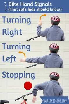 3 Bike Hand Signals (more bike safety tips to teach your kids at the link) from… Bicycle Safety, Kids Bicycle, Cub Scouts, Girl Scouts, Tiger Scouts, Scout Bike, Health And Physical Education, American Heritage Girls, Safety Tips