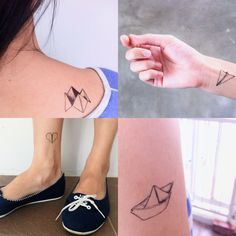Temporary Tattoos - Set of 5 designs - Paper boat, airplanes, heart and origami. via Etsy. - could get the boat to see if i like it for a real tattoo