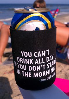 enjoying some fun on the beach using a great koozie created by the great folks at Free Agents Marketing